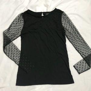 LOFT Size Small Black polka dot top